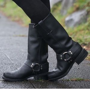 Dingo Black Leather Motorcycle Riding Boots